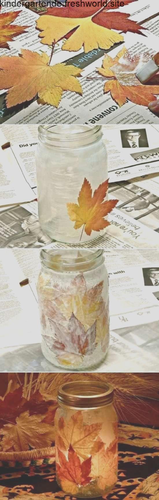 herbst basteln anleitung windlichter marmeladenglas herbstblätter #herbstbastelnmitkindern
