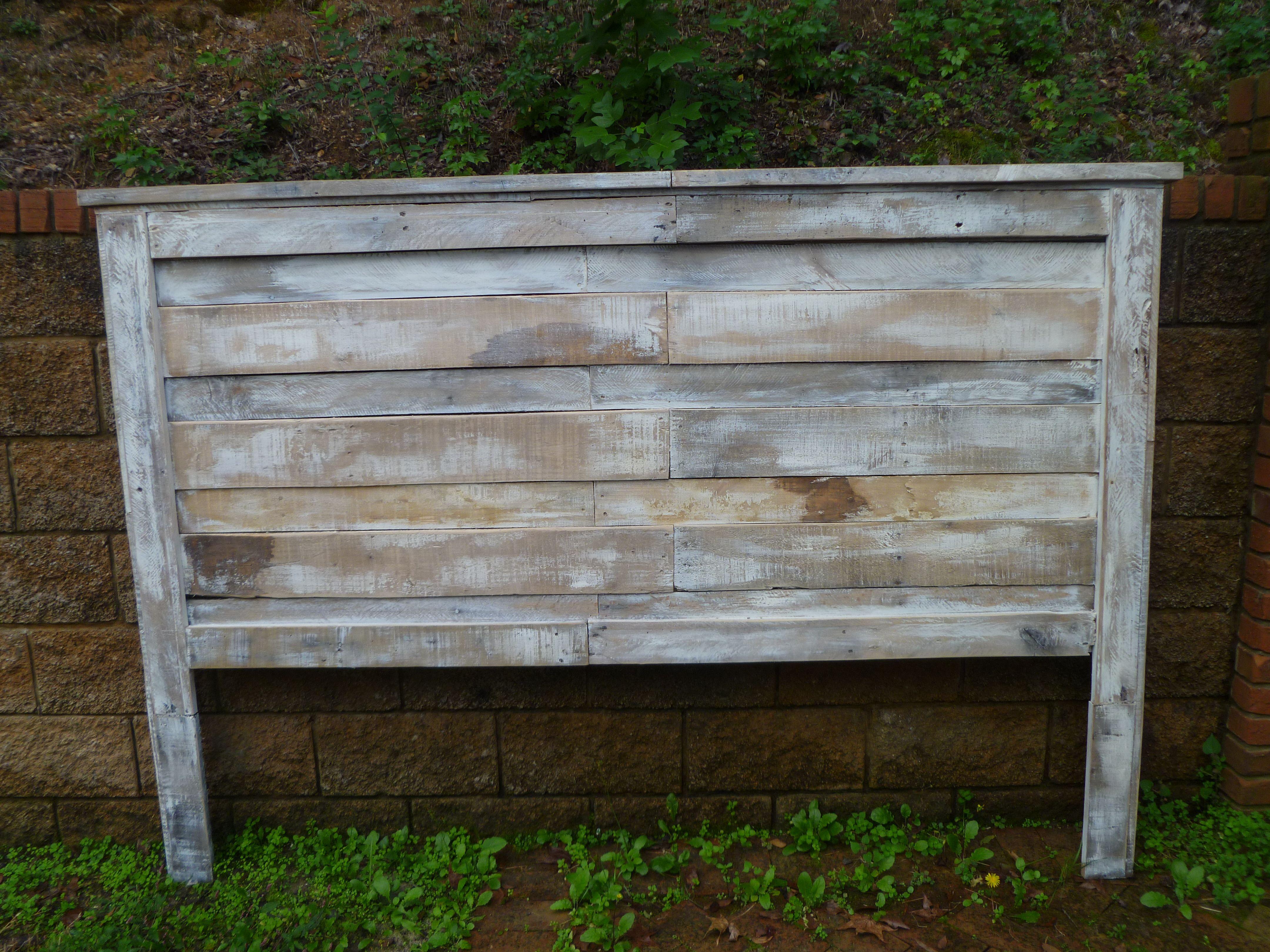 White Wash Pallet Headboard Diy Bed Frame Kids Bedroom
