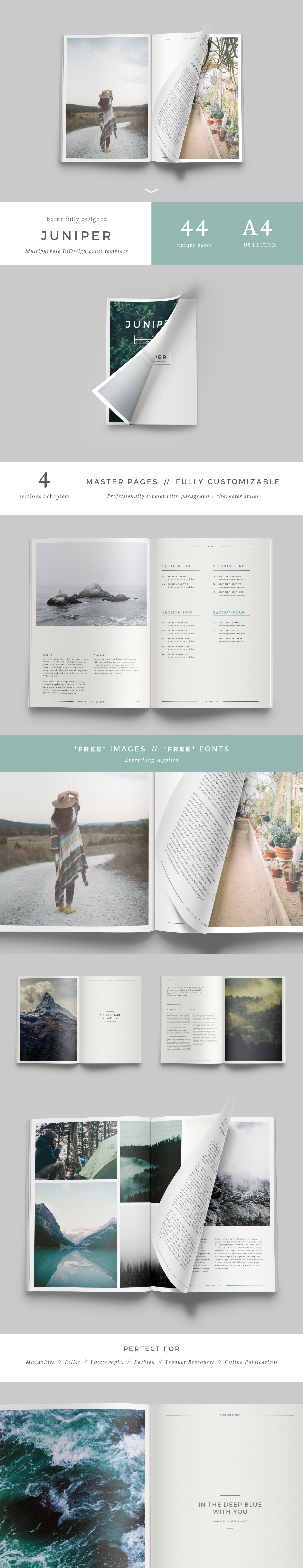Juniper Magazine Layout Template: Clean, modern and fully customizable. Check it out and get some inspiration!