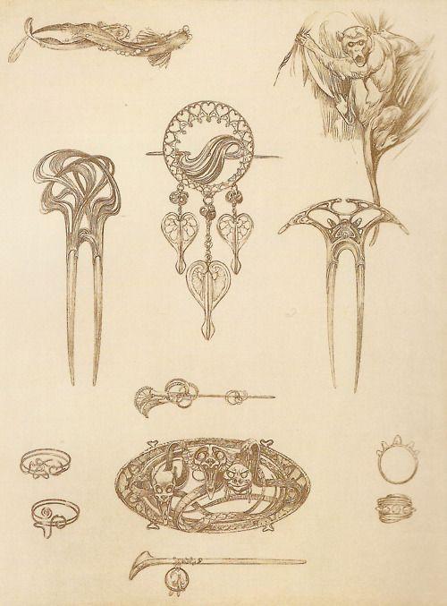 Jewelry designs by Alphonse Mucha, 1902 en 2019