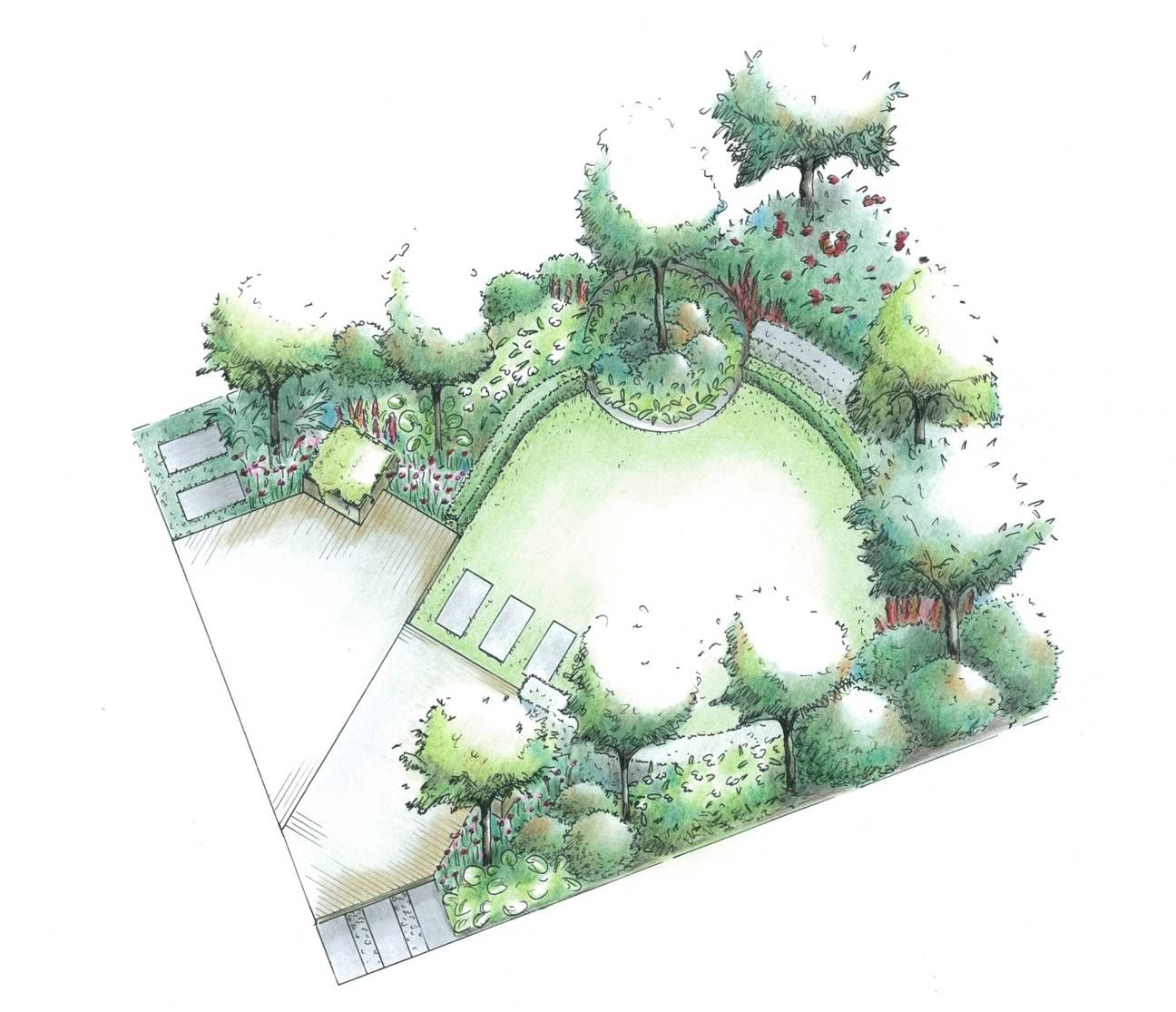 garden plan diagonal theme combined with circles 3d - Garden Design Layout