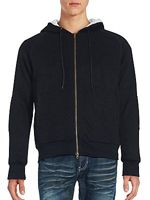 Saks Fifth Avenue BLACK Sherpa Zipper Hoodie - Black - Size X Large