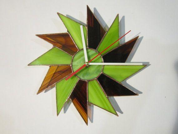 Wall Clock geometric decor lime and chocolate by ZangerGlass, $76.00