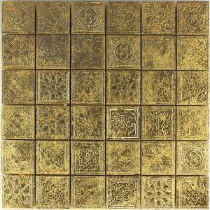Keramik Effekt Mosaik Fliesen Gold Ornament 48x48x10mm Mosaikfliesen