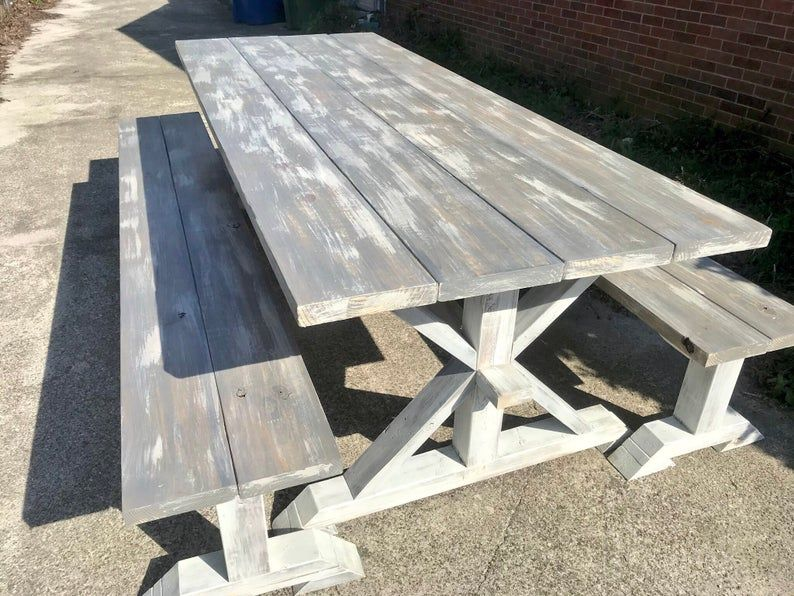 Dining Set Wooden Handmade Piece Large Rustic Farmhouse Table with Chunky Big Legs With Benches Distressed White Base and Provincial Top
