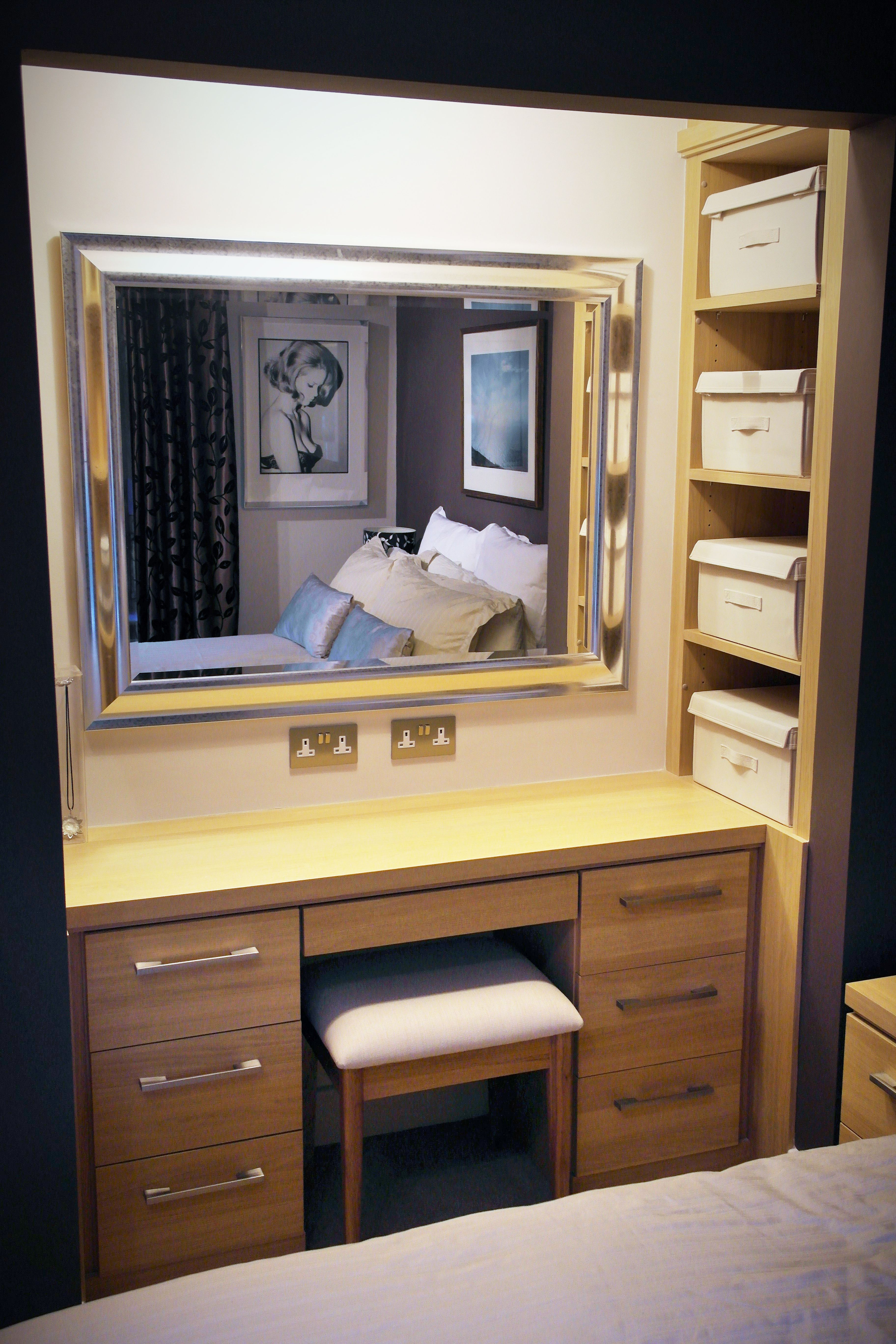 Bespoke dressing table and storage area in an alcove space fitted