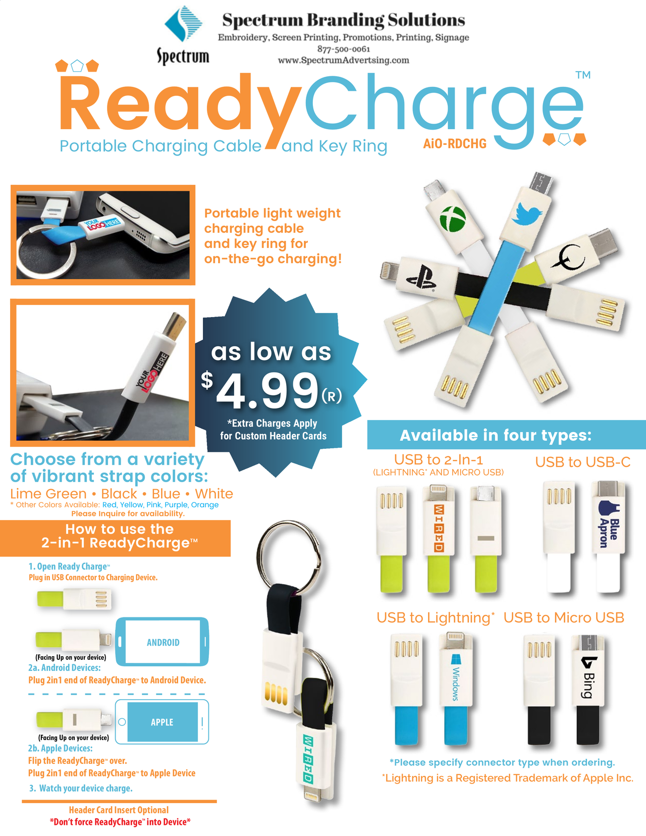 ReadyCharge •Portable lightweight charging cable and key ring for on ...