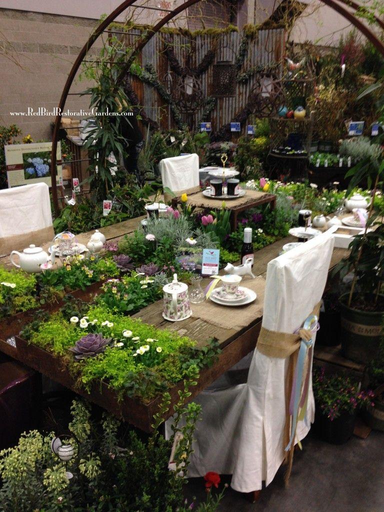 Red Birdu0027s Yard Garden Patio Show Display 2014    Full View   Tea Table  Featuring