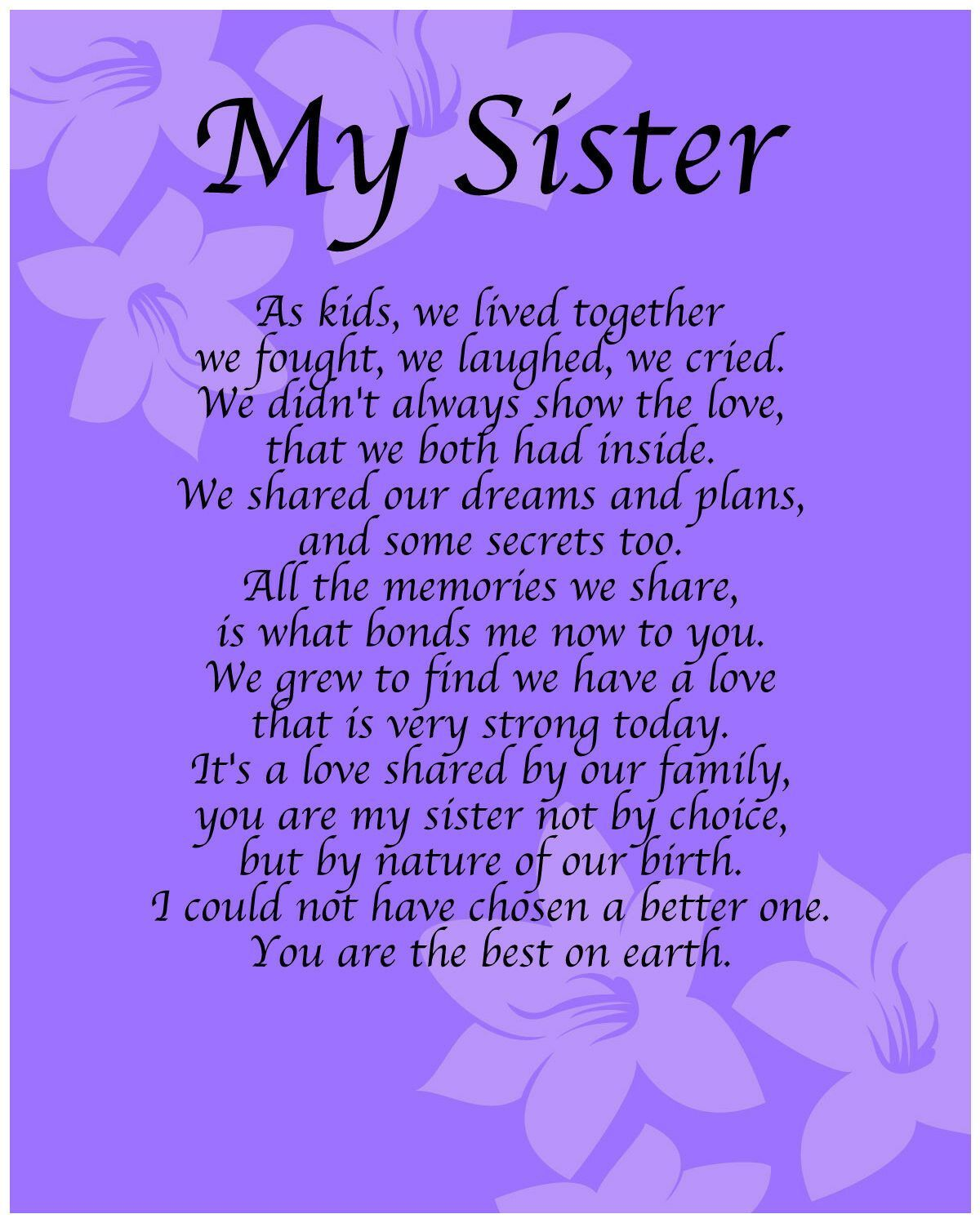 Details about Personalised My Sister Poem Birthday