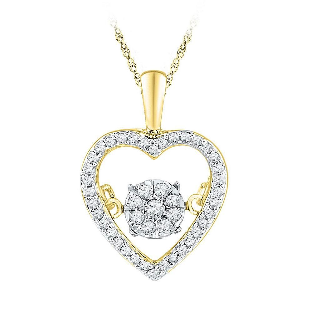 10kt Yellow Gold Womens Round Diamond Cluster Small Heart Pendant 1//20 Cttw
