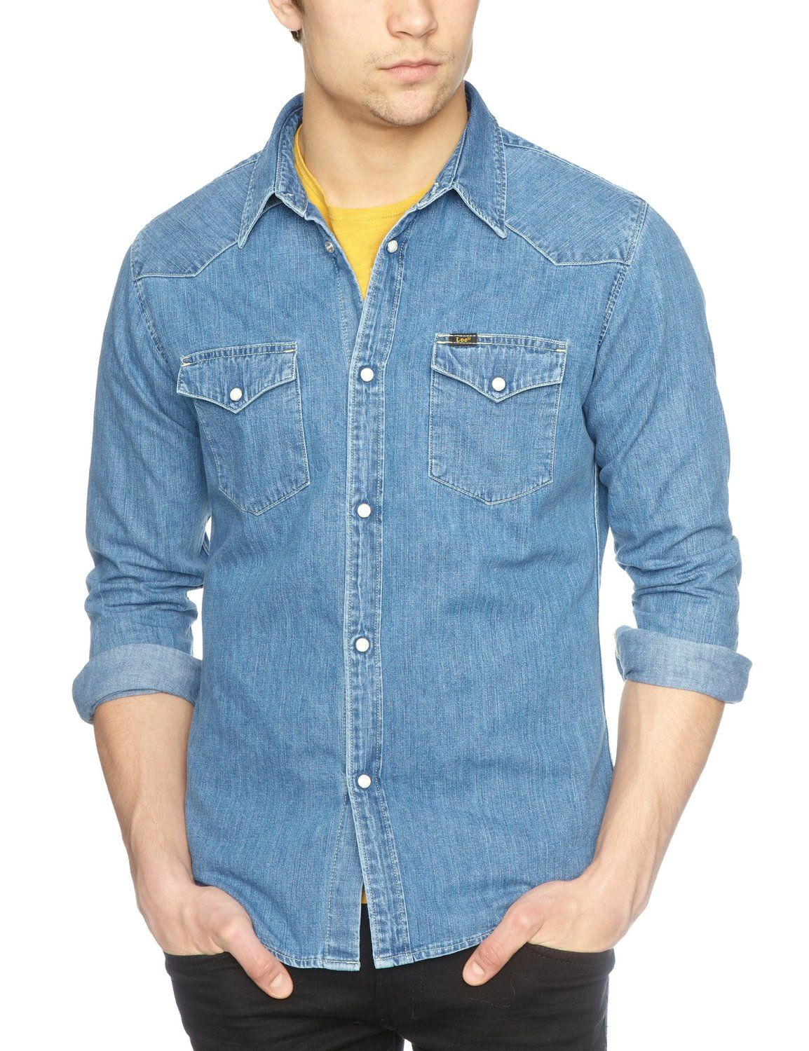 e294492418 Lee Jeans Men s Denim Western Slim Fit Classic Long Sleeve Casual Shirt   Amazon.co.uk  Clothing
