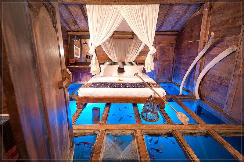 unique bedroom ideas, glass floor aquarium bedroom in 2019 ...