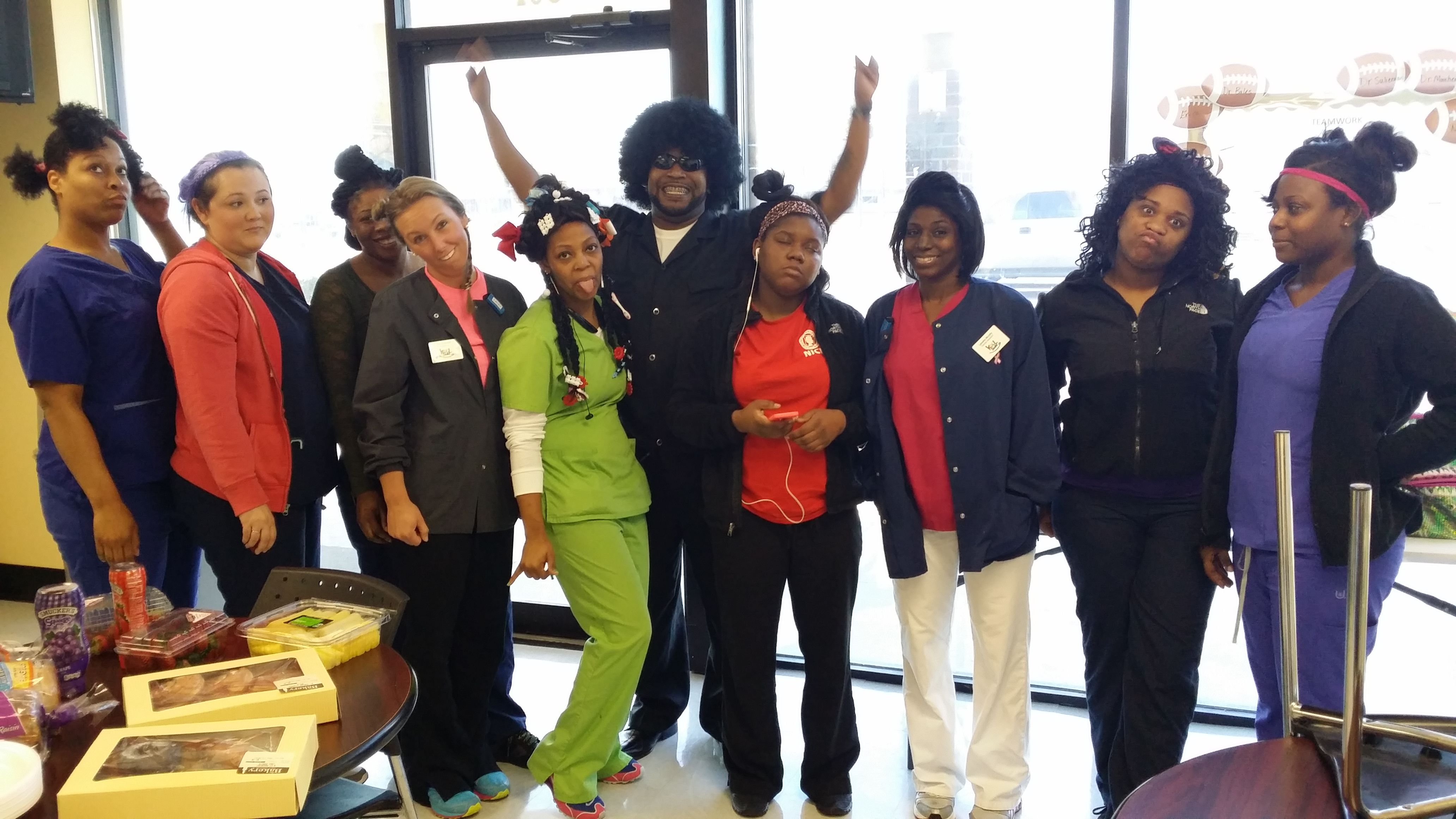 Spirit Week Continues At The Pine Bluff Kool Smiles Office With Crazy Hair Day Crazy Hair Days Crazy Hair Hair Day