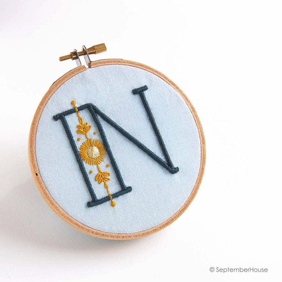 Embroidery Patterns Modern Monograms STARLIGHT Alphabet embroidery patterns by SeptemberHouse Full A