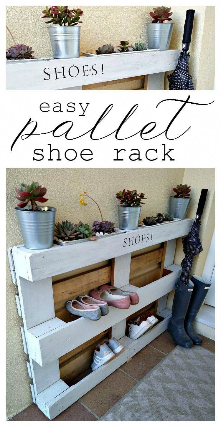 Diy Einfache Palette Schuhregal Kreativk Net Diy Easy Kreativknet Pallet Ra Diy Easy Einfache Krea In 2020 Pallet Shoe Rack Diy Pallet Projects Pallet Diy