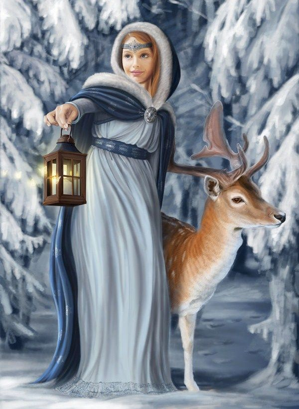 Woman/forest/deer/winter/snow