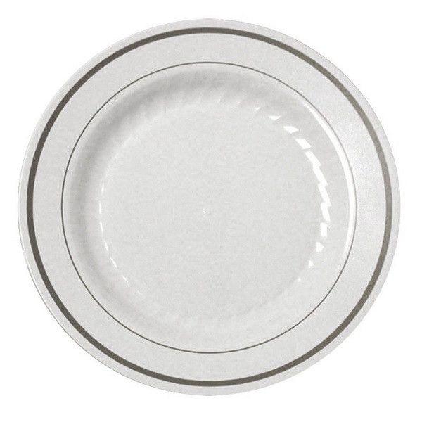 15 6  White China-like Disposable Plastic Plates - Silver  sc 1 st  Pinterest & 15 6