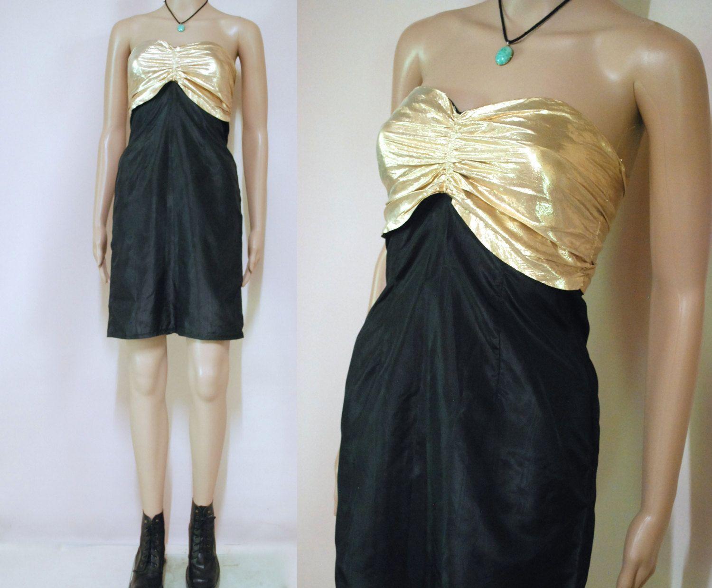 S vintage dress gold metallic tube corset black sleeveless mini