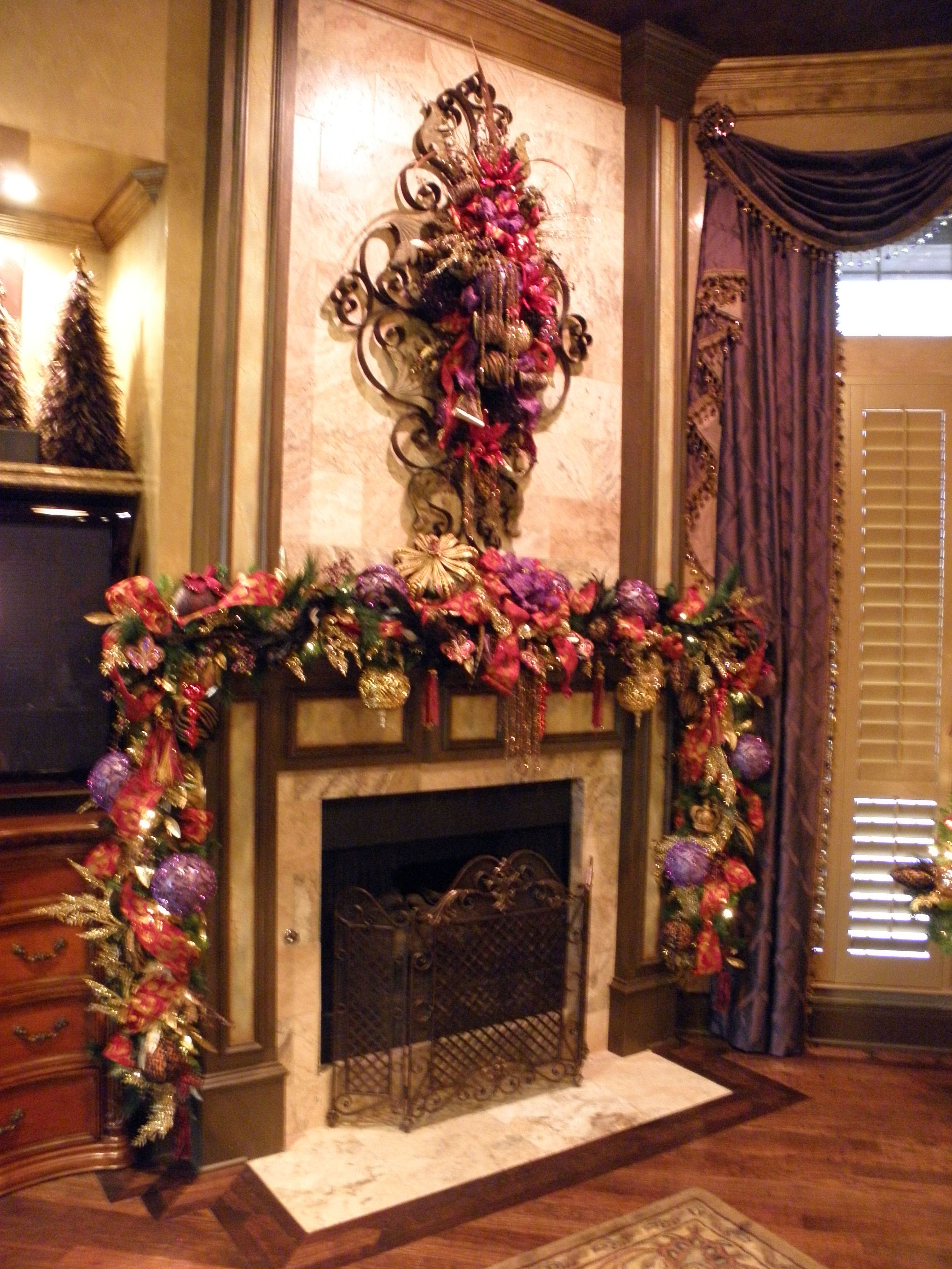 Love this garland on the mantle and spray above - Dorothy Greenlee Designs