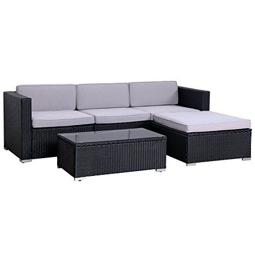 POLY RATTAN Lounge California Gartenset Sofa Garnitur Polyrattan ...