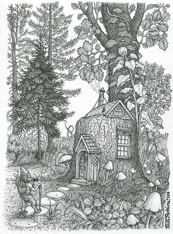 Stumptown Lodgings Print by Bill Perkins Grayscale