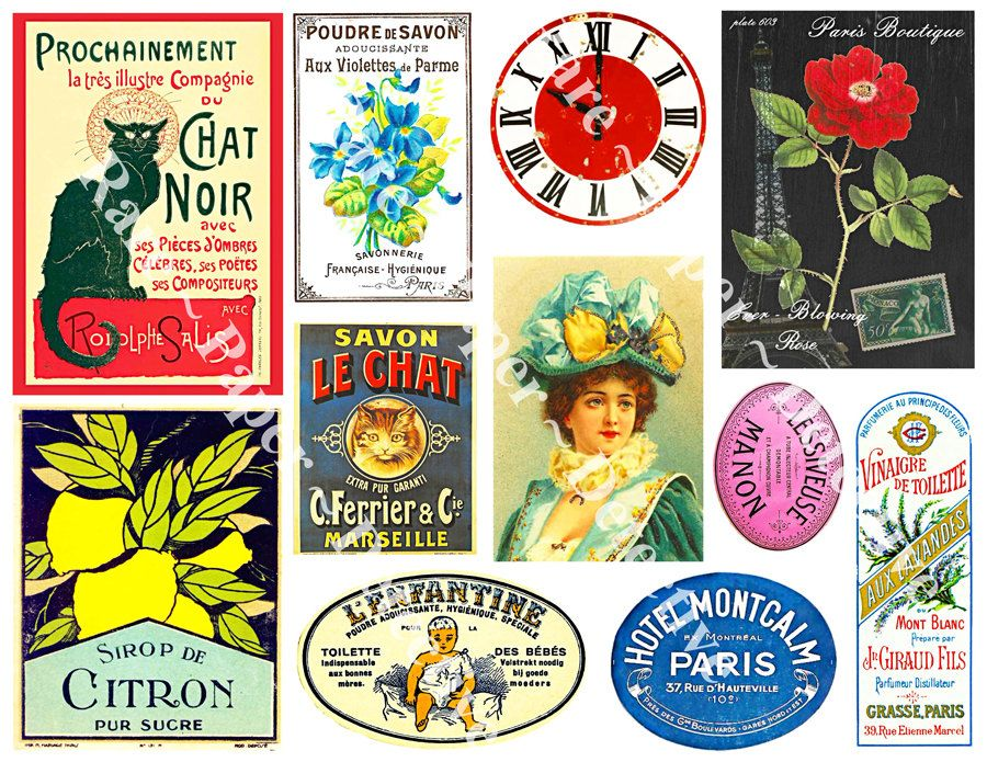 Paris france sticker set printed french cottage chic sticker pack elegant victorian french antique labels collage project clip art set 406