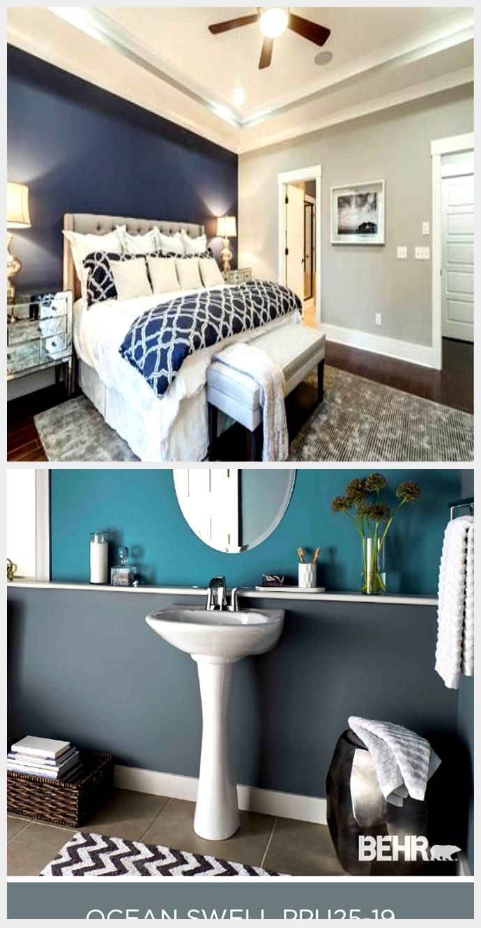 Best Master Bedroom With Light Gray Walls And Dark Blue Accent 400 x 300