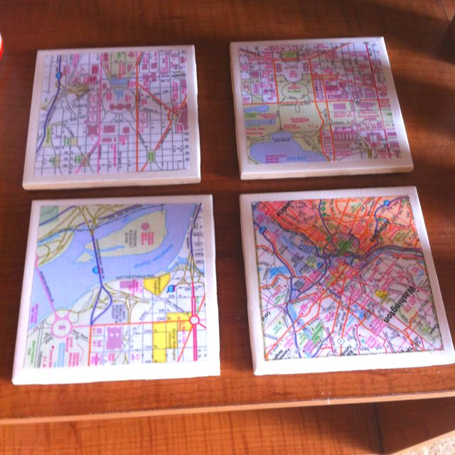 Personalized DC map coasters for a friend who is moving away! Cork underneath.