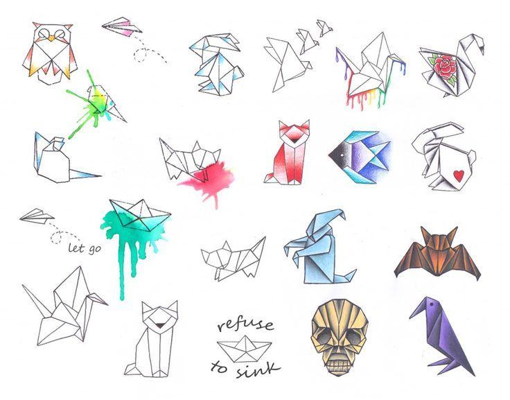 Tatto Ideas 2017  Dessins origamis.  Origami designs.