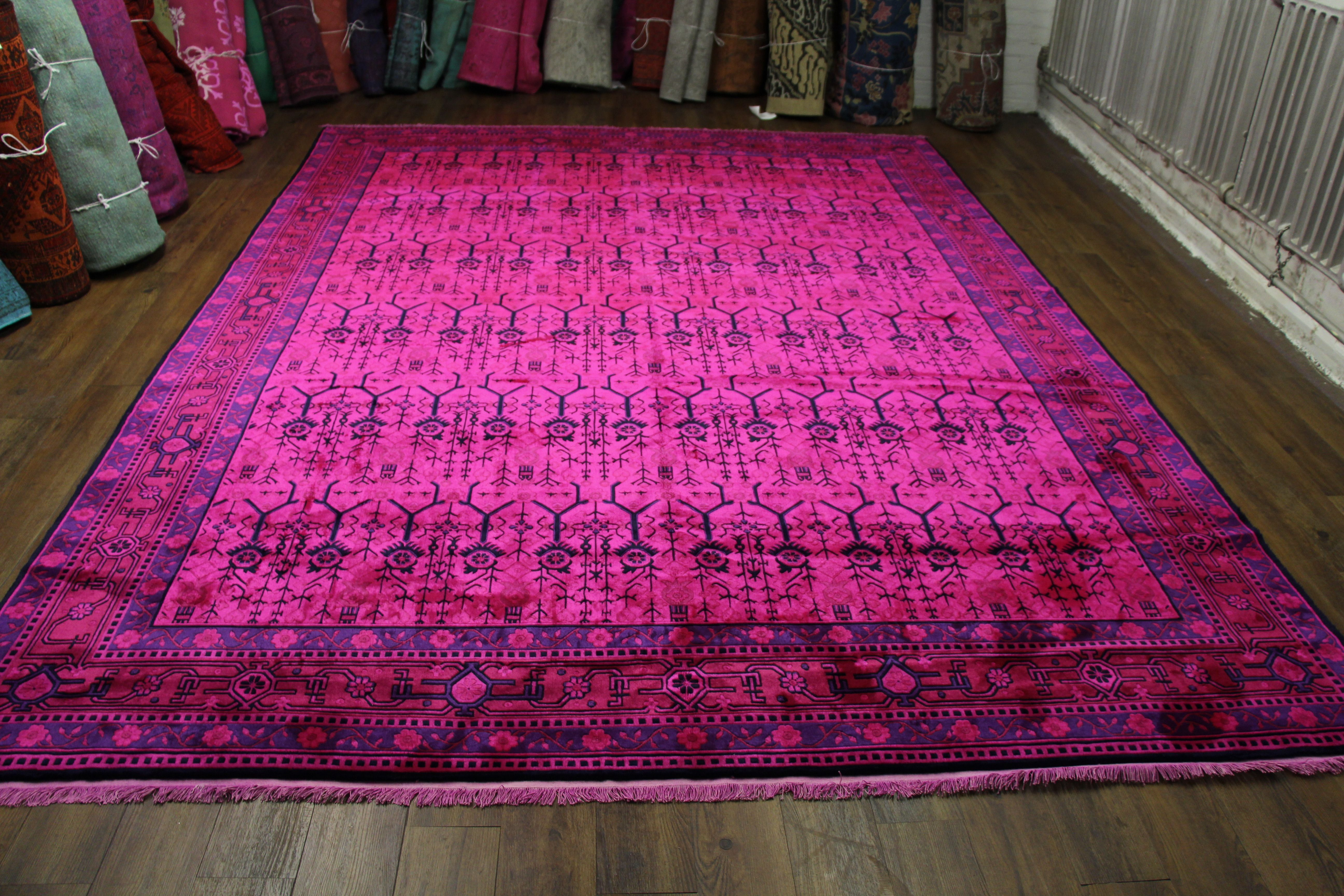 9x12 Hot Pink Rug Overdyed Chinese Art Deco 2719. Amazing Hot Pink Deco Rug.