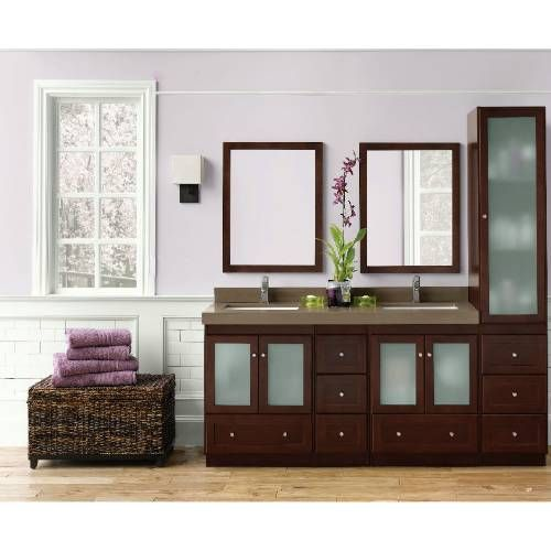 Ronbow 679015 1 modular shaker 15 linen hutch cabinet - Bathroom vanity with frosted glass doors ...