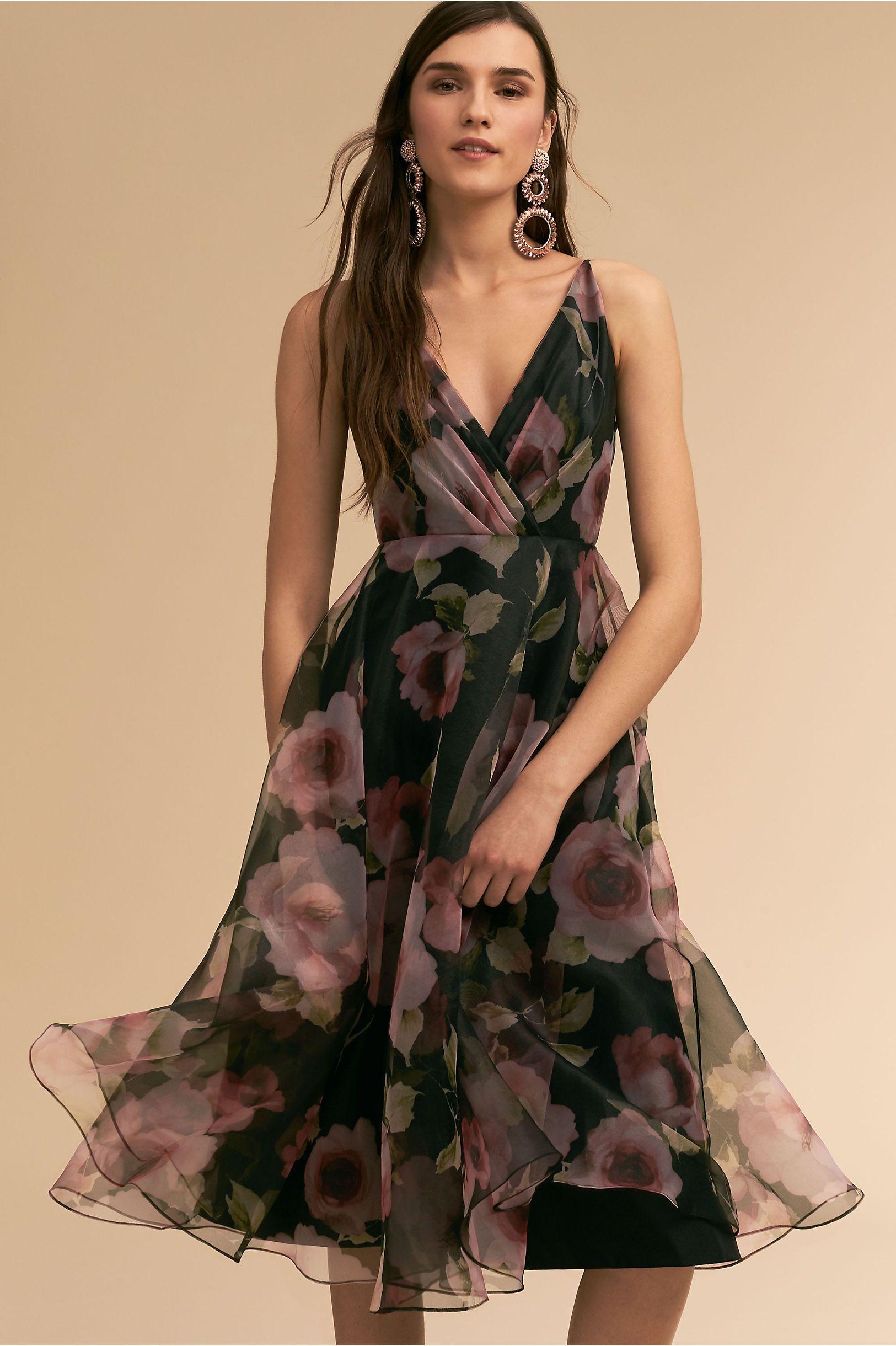 Bhldnus jenny yoo sabrina dress in black floral products