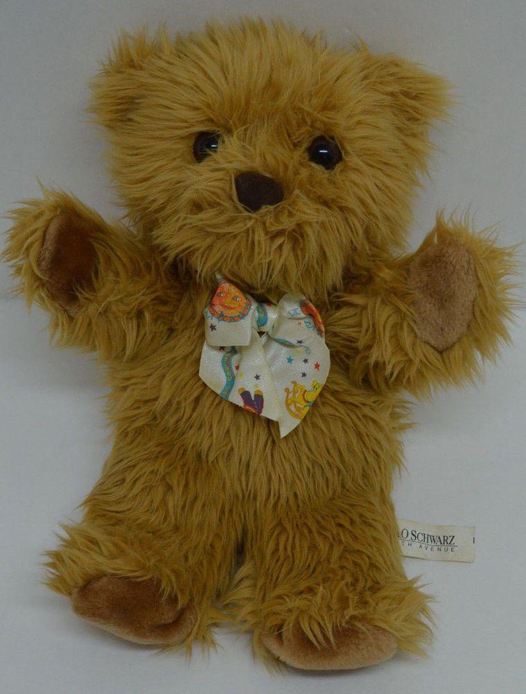 "FAO Schwarz Teddy Bear Puppet Plush Brown Bow Long Pile Stuffed Animal 14"" #FAOSchwarz http://stores.ebay.com/Lost-Loves-Toy-Chest?_dmd=2&_nkw=fao+schwarz"
