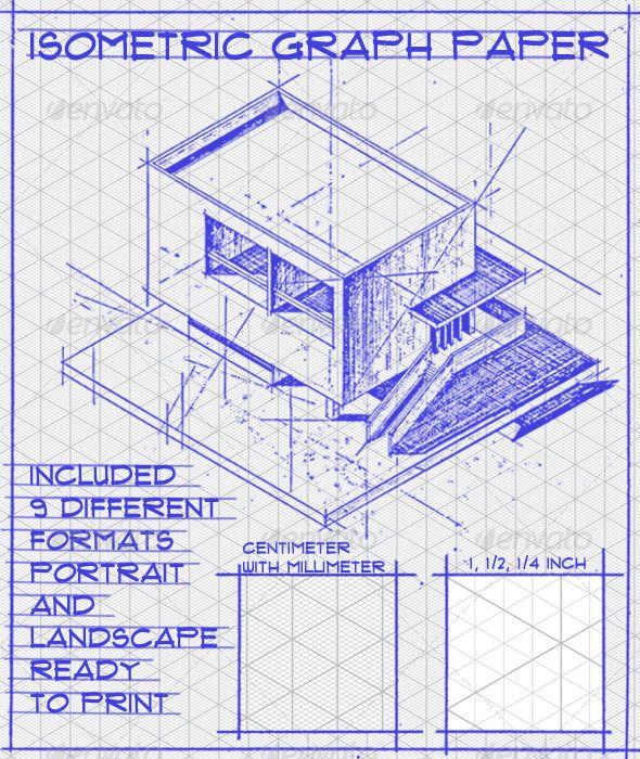 Isometric Graph Paper Set  Vector Art