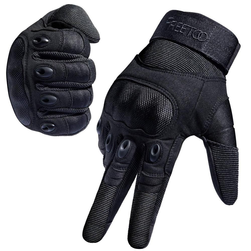 BLACK TACTICAL LEATHER GLOVES Military Army Combat Reinforced Knuckles Airsoft