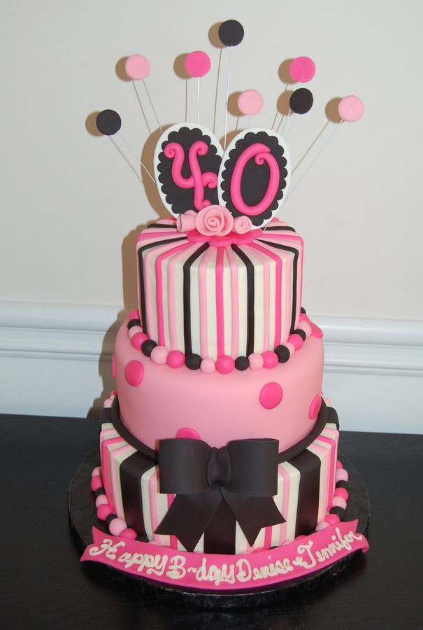 40th Birthday cake pink and black Over the Hill Let Them Eat