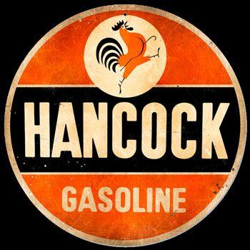 Hancock Rooster Gasoline Vintage Design Sign Metal Decor Gas and Oil Sign
