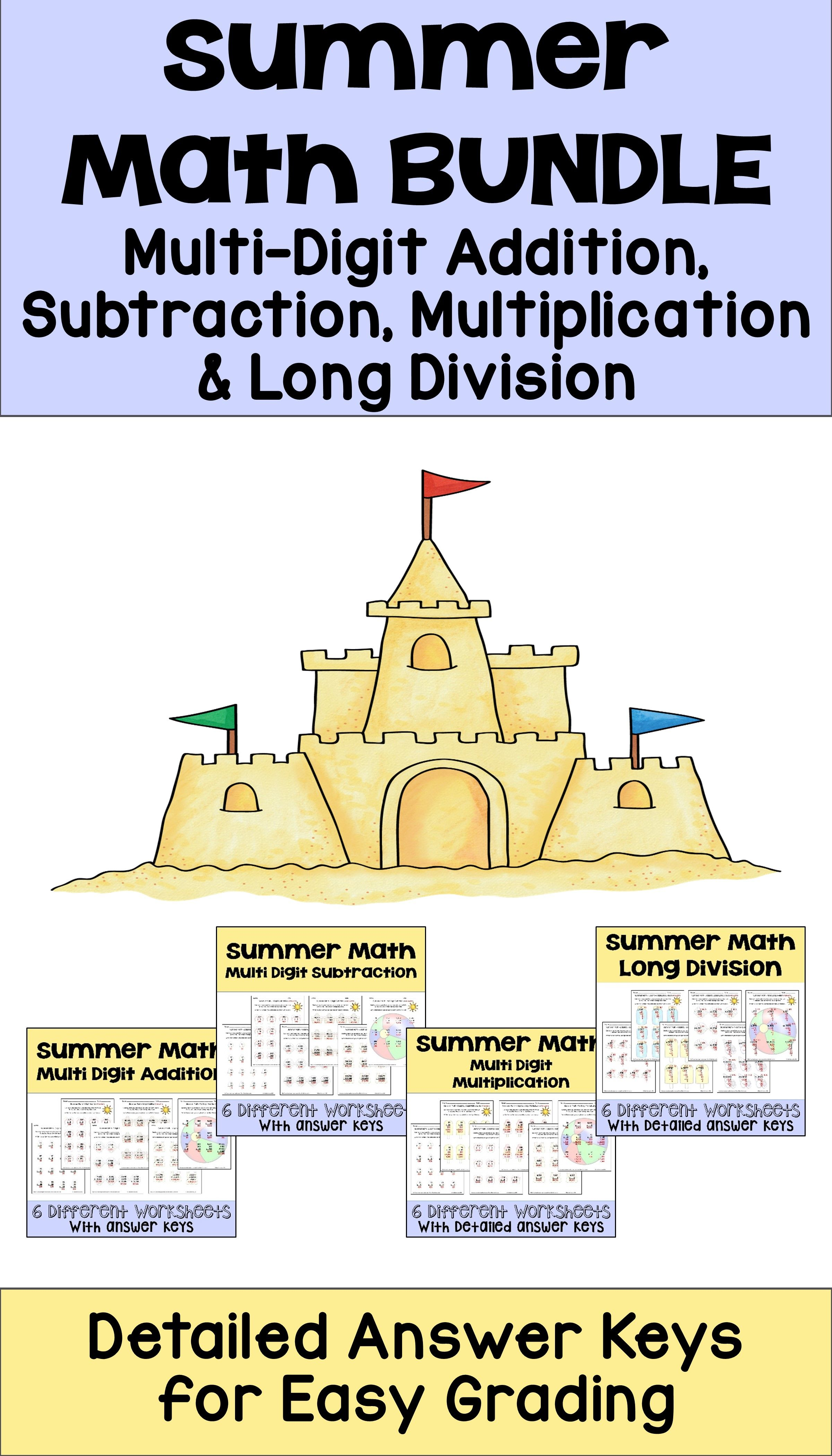 Summer Math Packet Operations Bundle