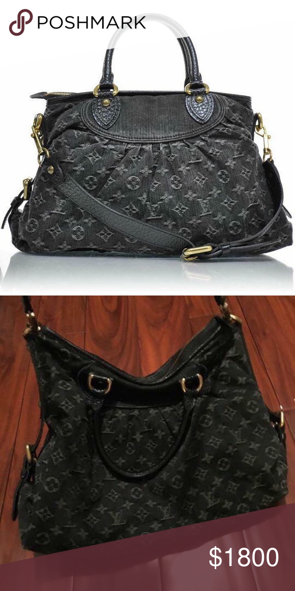 Limited edition Louis Vuitton black denim bag Amazing and unique Can be  worn on shoulder 629f5b107fc4e