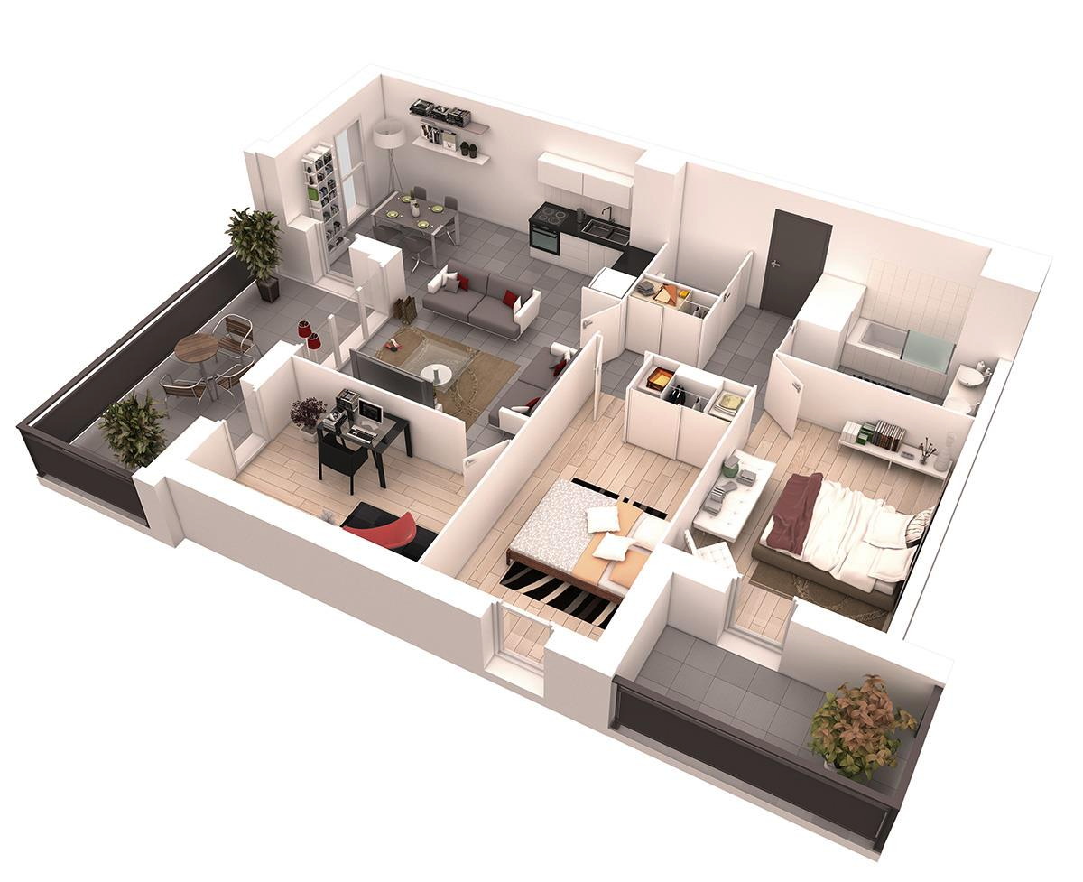 Two Bedrooms May Not Be A Mansion But With The Right Layout It Can Be Plenty Of Space For A Growing Fami Small House Floor Plans Floor Plans Custom Home Plans
