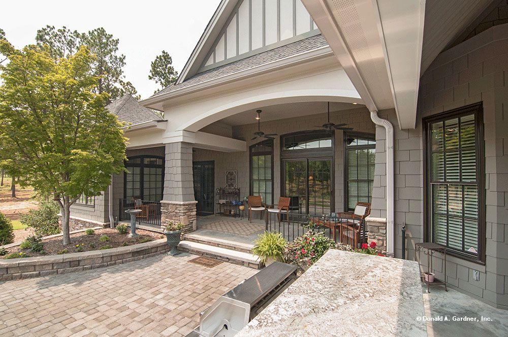 This Large Back Porch Allows For Plenty Of Seating. The