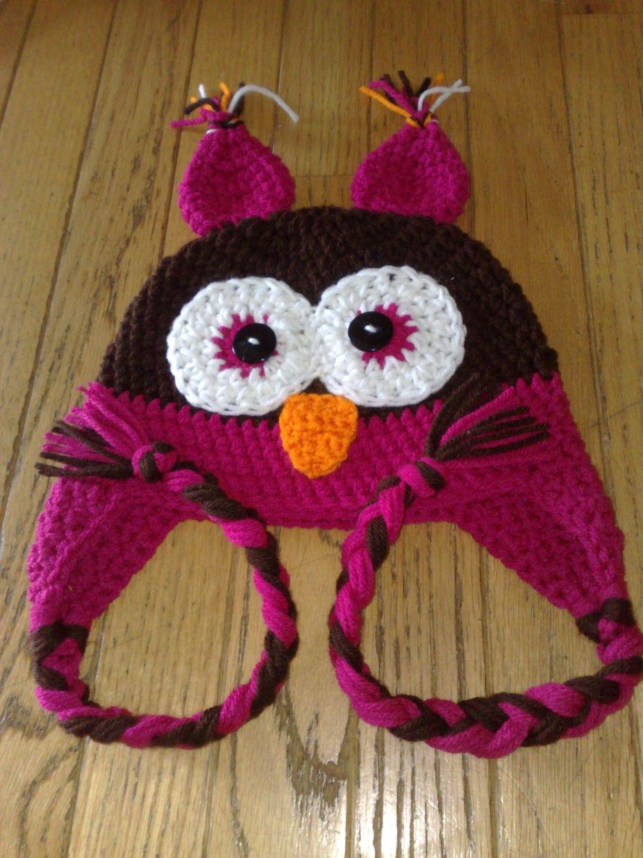 Kids Owl Hat, Crochet Owl Hat, Halloween Hat, Owl Ear Flap Hat ...