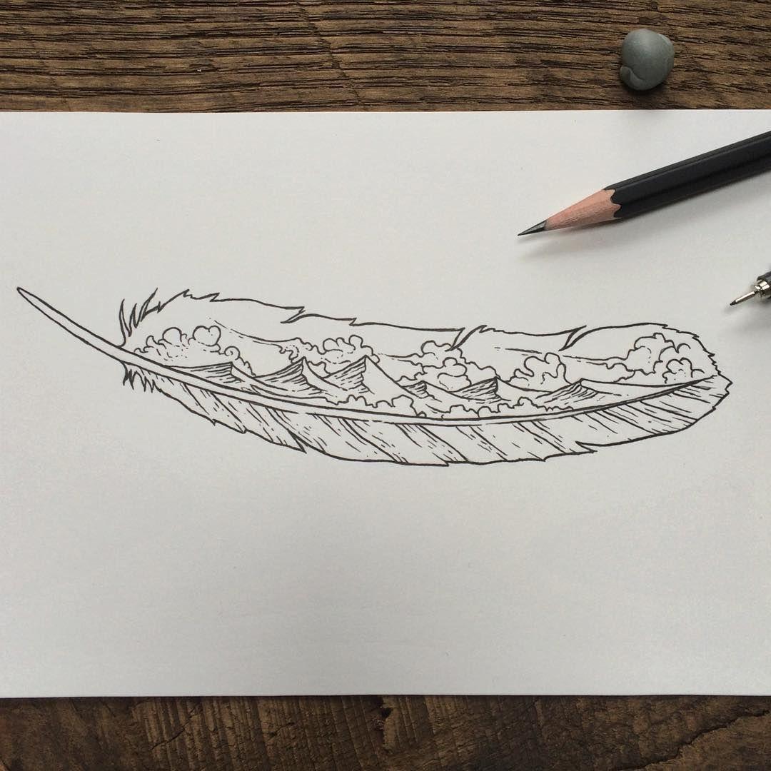 Rainy Tattoos Art: Tattoo Designs On A Rainy Day #feather #mountains #art