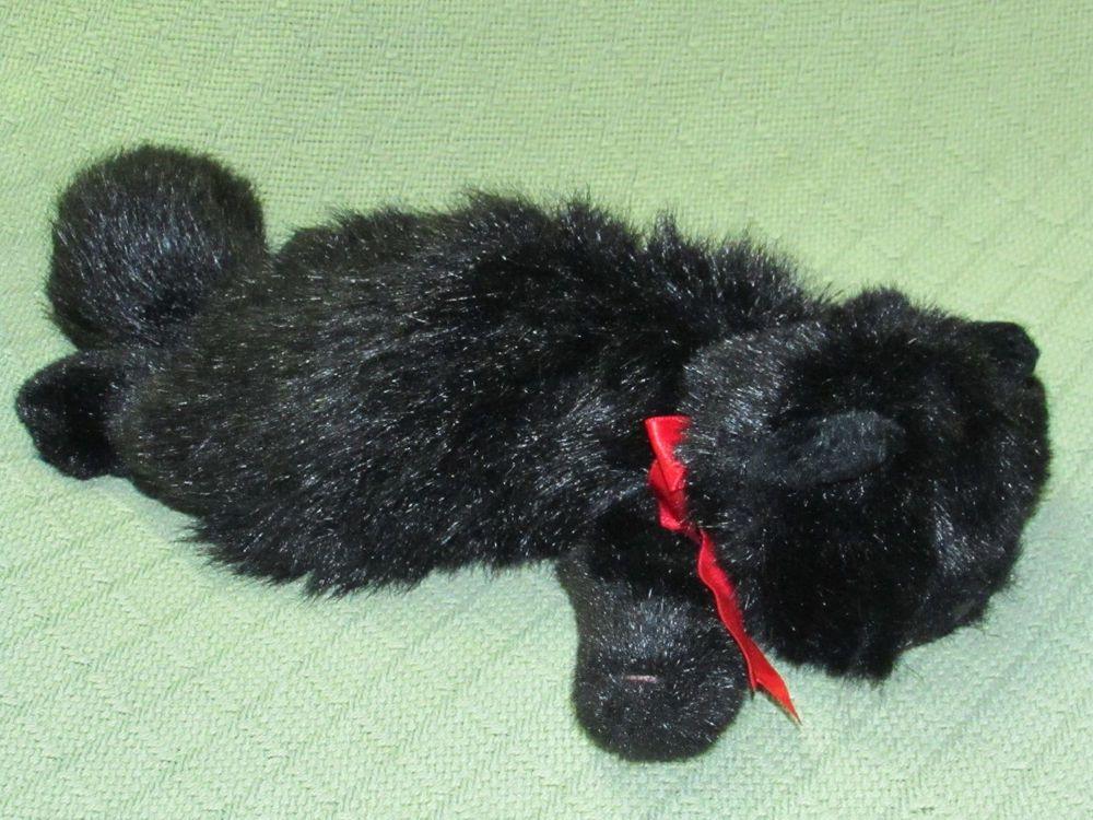 Ty Plush 1997 BLACK CAT Coal   Red Ribbon Tush Tag 14
