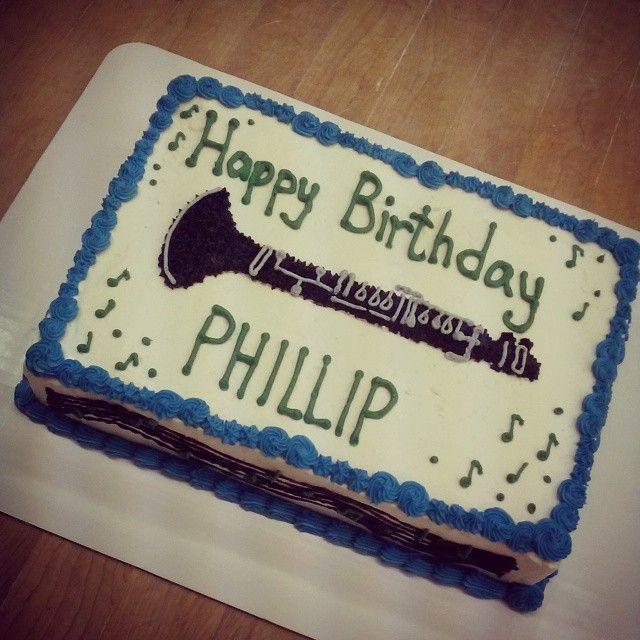 Musical Clarinet Music Themed Birthday Cake Sheet Cake By
