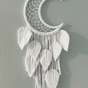 Moon dreamcatcher with feathers Crescent Moon macrame wall | Etsy
