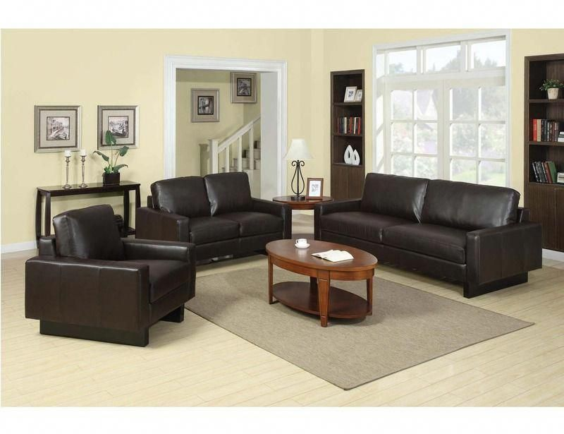 Coaster Modern Brown Leather Sofa Couch Loveseat Arm Chair Living