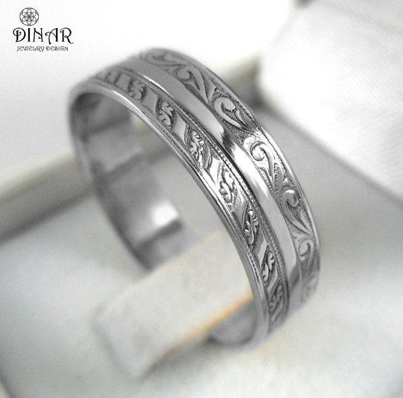 Wedding Band in 14k white Gold Art Deco wedding ring band gold
