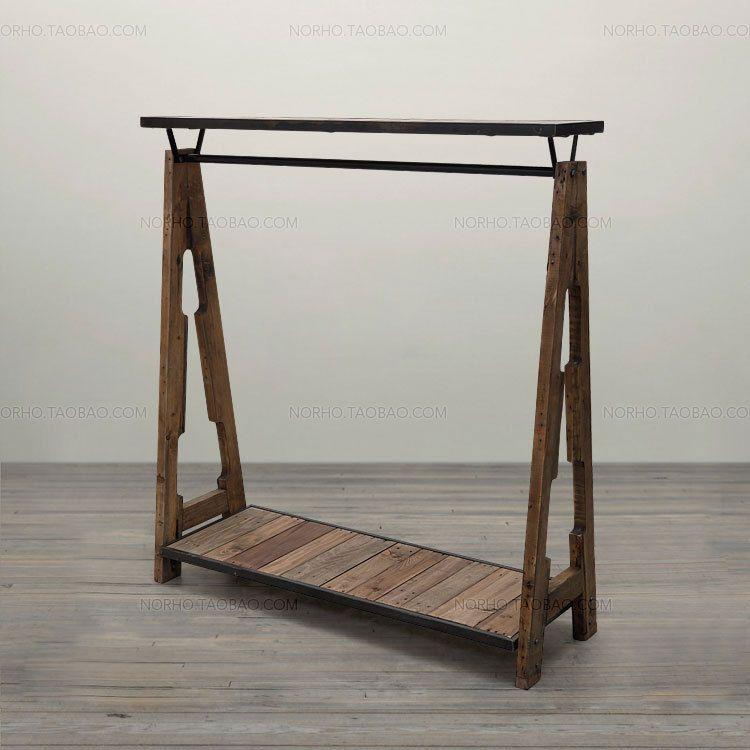 Special combination of retro clothing racks , wrought iron wood shelf  display rack clothing hangers Coat