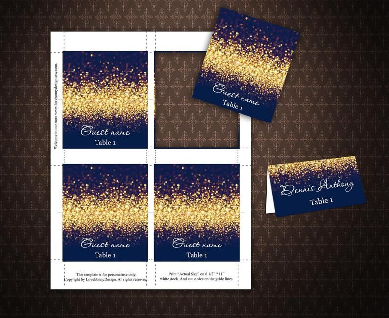 Gold Sparkle And Navy Wedding Place Card Tents Place Cards Etsy In 2021 Wedding Place Cards Place Cards Wedding Diy Place Cards